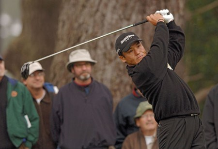 Shigeki Maruyama hitting off the second tee during the second round of The World Golf Championships 2005 American Express Championship at Harding Park Golf Club in San Francisco, California on October 7, 2005.Photo by Steve Grayson/WireImage.com