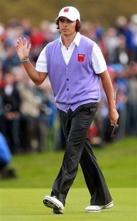 NEWPORT, WALES - OCTOBER 02:  Rickie Fowler of the USA acknowledges the crowd on the 11th green  during the rescheduled Afternoon Foursome Matches during the 2010 Ryder Cup at the Celtic Manor Resort on October 2, 2010 in Newport, Wales.  (Photo by Andrew Redington/Getty Images)