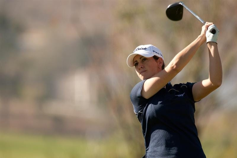 MORELIA, MEXICO - APRIL 29: Lisa Meldrum of Canada hits a tee shot during the first round of the Tres Marias Championship at the Tres Marias Country Club on April 29, 2010 in Morelia, Mexico. (Photo by Darren Carroll/Getty Images)