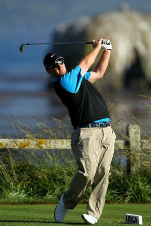 PEBBLE BEACH, CA - JUNE 17:  David Duval hits a tee shot on the 18th hole during the first round of the 110th U.S. Open at Pebble Beach Golf Links on June 17, 2010 in Pebble Beach, California.  (Photo by Donald Miralle/Getty Images)