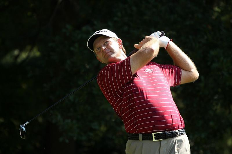 ATLANTA - SEPTEMBER 25:  Retief Goosen of South Africa hits his tee shot on the third hole during the third round of THE TOUR Championship presented by Coca-Cola at East Lake Golf Club on September 25, 2010 in Atlanta, Georgia.  (Photo by Scott Halleran/Getty Images)