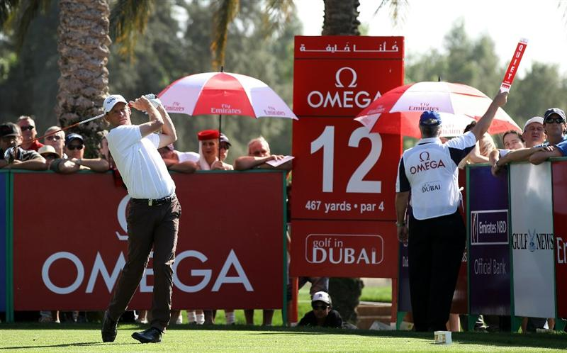DUBAI, UNITED ARAB EMIRATES - FEBRUARY 12:  Anders Hansen of Denmark during the third round of the Omega Dubai Desert Classic on the Majlis course at the Emirates Golf Club on February 12, 2011 in Dubai, United Arab Emirates.  (Photo by Ross Kinnaird/Getty Images)