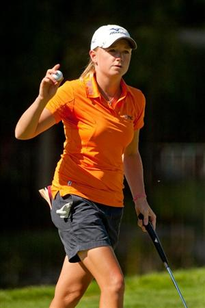 DANVILLE, CA - OCTOBER 15: Stacy Lewis acknowledges the gallery during the second round of the CVS/Pharmacy LPGA Challenge at Blackhawk Country Club on October 15, 2010 in Danville, California. (Photo by Darren Carroll/Getty Images)
