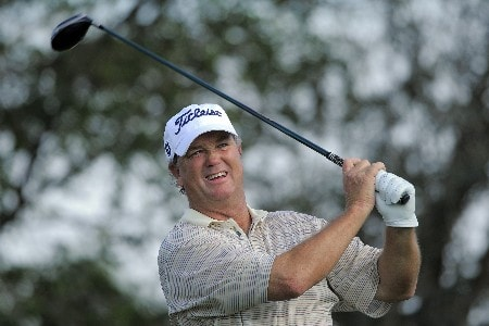 NAPLES, FL - FEBRUARY 16: Peter Jacobsen tees off on the 17th hole during the second round of the ACE Group Classic at Quail West on February 16, 2008 in Naples, Florida. (Photo by Scott A. Miller/Getty Images)