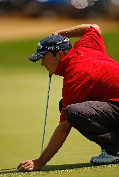 RIO GRANDE, PUERTO RICO - MARCH 22:  Ryan Blaum lines up a putt on the 9th hole during the third round of the Puerto Rico Open presented by Banco Popular held on March 22, 2008 at Coco Beach Golf & Country Club in Rio Grande, Puerto Rico.  (Photo by Mike Ehrmann/Getty Images)
