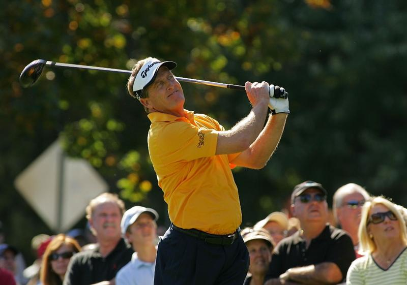 TIMONIUM, MD - OCTOBER 12:  Fred Funk hits his drive on the first tee during the final round of the Constellation Energy Senior Players Championship at Baltimore Country Club East Course held on October 12, 2008 in Timonium, Maryland  (Photo by Michael Cohen/Getty Images)