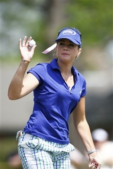 BROKEN ARROW, OK - MAY 01: Paula Creamer waves to the crowd after making a putt on the 17th hole during the first round of the SemGroup Championship presented by John Q. Hammons on May 1, 2008 at Cedar Ridge Country Club in Broken Arrow, Oklahoma. (Photo by G. Newman Lowrance/Getty Images)