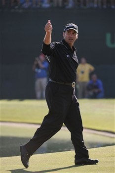 SAN DIEGO - JUNE 15:  Rocco Mediate waves as he walks off the 18th green during the final round of the 108th U.S. Open at the Torrey Pines Golf Course (South Course) on June 15, 2008 in San Diego, California.  (Photo by Harry How/Getty Images)