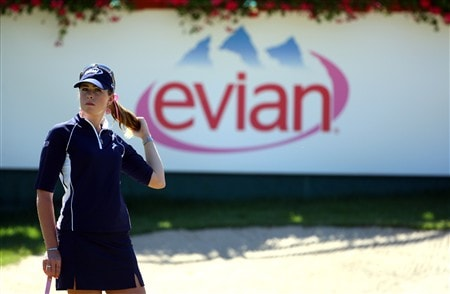 EVIAN, FRANCE - JULY 24:  Paula Creamer of USA adjusts her hair on the 18th hole during the first round of the Evian Masters at the Evian Masters Golf Club on July 24, 2008 in Evian, France.  (Photo by Andrew Redington/Getty Images)