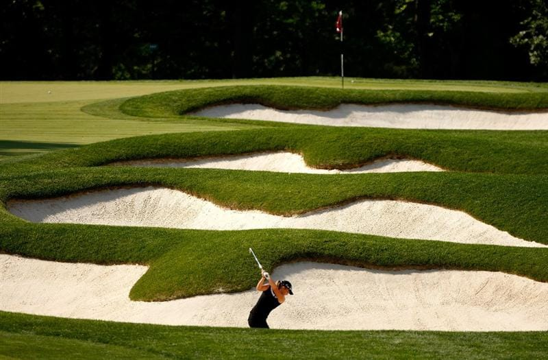 BETHLEHEM, PA - JULY 09:  Anna Grzebien hits from the sand on the 10th hole during the first round of the 2009 U.S. Women's Open at Saucon Valley Country Club on July 9, 2009 in Bethlehem, Pennsylvania.  (Photo by Streeter Lecka/Getty Images)