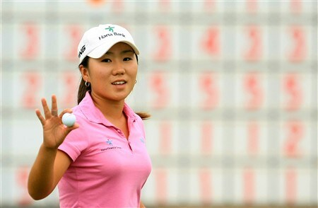 MT. PLEASANT, SC - MAY 29:  In-Kyung Kim of South Korea waves to the gallery on the 18th green during the first round of the Ginn Tribute at RiverTowne Country Club on May 29, 2008 in Mt. Pleasant, South Carolina.  (Photo by Scott Halleran/Getty Images)