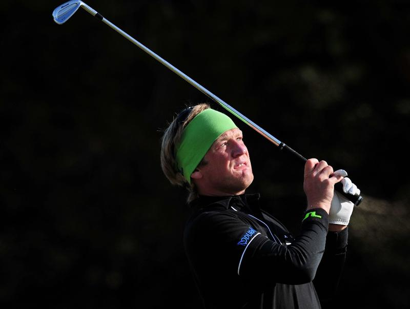 ESTORIL, PORTUGAL - APRIL 05:  Pelle Edberg of Sweden plays his approach shot during the final round of The Estoril Open de Portugal The Oitavos Dunes Golf Course on April 5, 2009 in Cascais, Portugal.  (Photo by Stuart Franklin/Getty Images)