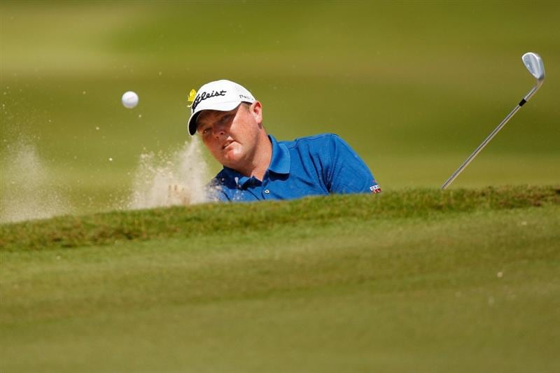 RIVIERA MAYA, MEXICO - MARCH 01:  Jarrod Lyle chips out of a bunker on the third hole during the final round of the Mayakoba Golf Classic on March 1, 2009 at El Camaleon Golf Club in Riviera Maya, Mexico.  (Photo by Chris Graythen/Getty Images)