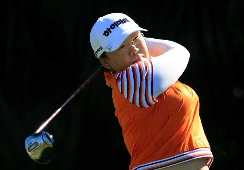WEST PALM BEACH, FL - NOVEMBER 20:  Ji-Yai Shin of South Korea watches her tee shot on the ninth hole during the first round of the ADT Championship at the Trump International Golf Club on November 20, 2008 in West Palm Beach, Florida.  (Photo by Scott Halleran/Getty Images)
