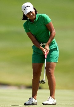 MORELIA, MEXICO - APRIL 26:  Julieta Granada of Mexico putts on the third green during the first round of the Corona Championship April 26, 2007 at Tres Marias Club de Golf in Morelia, Michoacan, Mexico.  (Photo by Matthew Stockman/Getty Images)