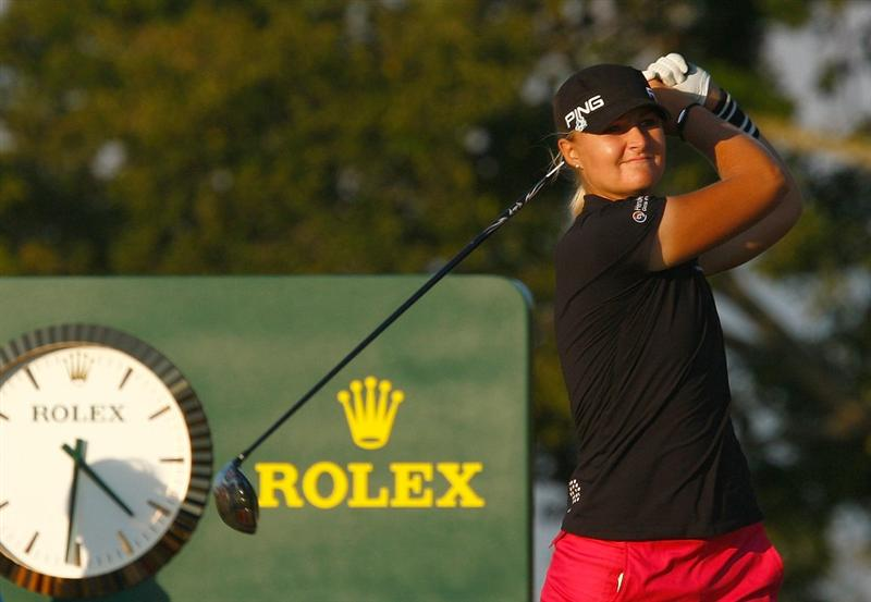 RICHMOND, TX - NOVEMBER 23:  Anna Nordqvist of Sweden hits her tee shot on the 18th hole during the final round of the LPGA Tour Championship presented by Rolex at the Houstonian Golf and Country Club on November 23, 2009 in Richmond, Texas.  (Photo by Scott Halleran/Getty Images)
