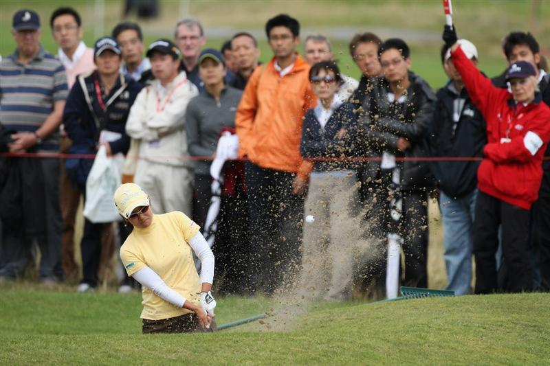LYTHAM ST ANNES, ENGLAND - AUGUST 01:  Ai Miyazato of Japan hits out of a bunker on the 2nd hole during the third round of the 2009 Ricoh Women's British Open Championship held at Royal Lytham St Annes Golf Club, on August 1, 2009 in Lytham St Annes, England.  (Photo by David Cannon/Getty Images)