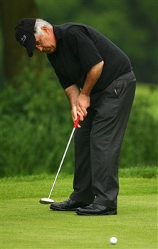 NORTHAMPTON, UNITED KINGDOM - MAY 30:  Mike Gallagher makes a putt on the 3rd green during the Senior PGA Professional Championships at Northampton County Golf Club on May 30, 2008 in Northampton, England.  (Photo by Matthew Lewis/Getty Images)