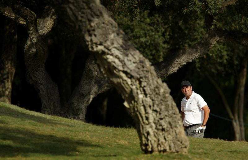 SOTOGRANDE, SPAIN - OCTOBER 28:  Jose Maria Olazabal of Spain plays from a bunker on the 7th during the first round of the Andalucia Valderrama Masters at Club de Golf Valderrama on October 28, 2010 in Sotogrande, Spain.  (Photo by Richard Heathcote/Getty Images)
