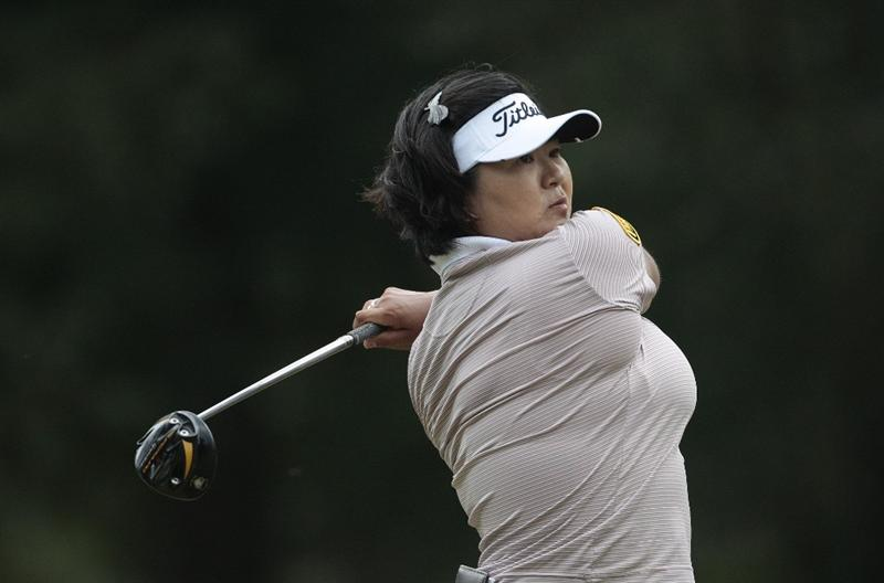 MOBILE, AL - SEPTEMBER 11:  Young-A Yang of South Korea tees off on the 11th hole during first round play in the Bell Micro LPGA Classic at Magnolia Grove Golf Course on September 11, 2008 in Mobile, Alabama.  (Photo by Dave Martin/Getty Images)