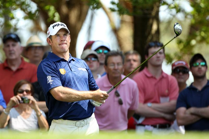 AUGUSTA, GA - APRIL 04:  Lee Westwood of England watches a shot during a practice round prior to the 2011 Masters Tournament at Augusta National Golf Club on April 4, 2011 in Augusta, Georgia.  (Photo by Andrew Redington/Getty Images)