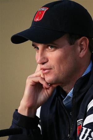 NEWPORT, WALES - SEPTEMBER 29:  Zach Johnson of the USA answers questions from the media at a press conference during a practice round prior to the 2010 Ryder Cup at the Celtic Manor Resort on September 29, 2010 in Newport, Wales.  (Photo by Jamie Squire/Getty Images)