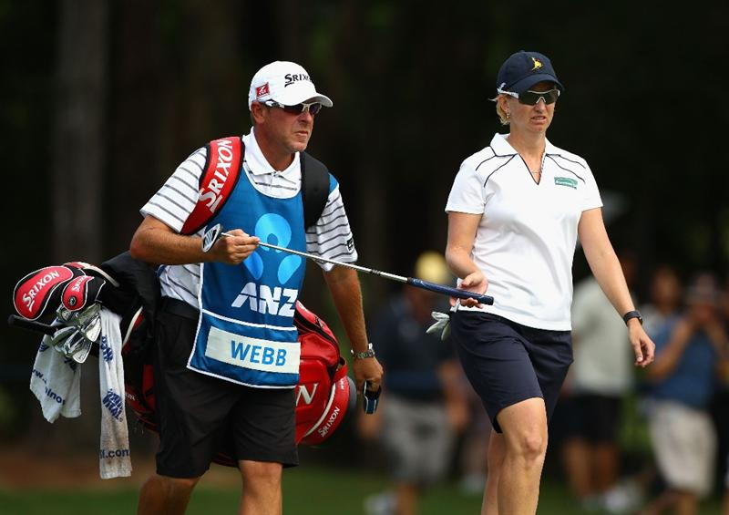 GOLD COAST, AUSTRALIA - MARCH 07:  Karrie Webb of Australia walks up the 16th fairway during round four of the 2010 ANZ Ladies Masters at Royal Pines Resort on March 7, 2010 in Gold Coast, Australia.  (Photo by Ryan Pierse/Getty Images)