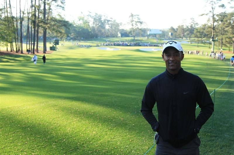AUGUSTA, GA - APRIL 09:  Ex Wallabies Captain George Gregan poses for a picture as he watched Michael Campbell compete during the second round of the 2010 Masters Tournament at Augusta National Golf Club on April 9, 2010 in Augusta, Georgia.  (Photo by David Cannon/Getty Images)