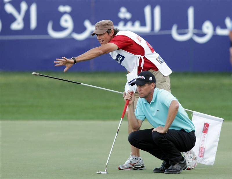 DUBAI, UNITED ARAB EMIRATES - FEBRUARY 13:  Anders Hansen of Denmark during the final round of the Omega Dubai Desert Classic on the Majlis course at the Emirates Golf Club on February 13, 2011 in Dubai, United Arab Emirates.  (Photo by Ross Kinnaird/Getty Images)