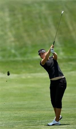 MORELIA, MEXICO- APRIL 23:  Anna Nordqvist of Sweden hits her approach shot off the fairway on the 9th hole during the first round of the 2009 Corona Championship, part of the LPGA Tour, on April 23, 2009 at the Tres Marias Golf Club in Morelia, Michoacan, Mexico. Nordqvist birdied the hole and finished the day at 6-under par.  (Photo by Donald Miralle/Getty Images)