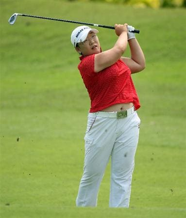 SINGAPORE - MARCH 08:  Jiyai Shin of South Korea  during the final round of HSBC Women's Champions at the Tanah Merah Country Club on March 8, 2009 in Singapore.  (Photo by Ross Kinnaird/Getty Images)