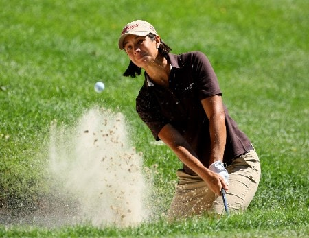 NEW ROCHELLE, NY - JULY 21:  Laura Diaz of the USA plays from a bunker on the 13th during round three of the HSBC Women's World Match Play Championship at Wykagyl County Club on July 21, 2007 in New Rochelle, New York.  (Photo by Richard Heathcote/Getty Images)