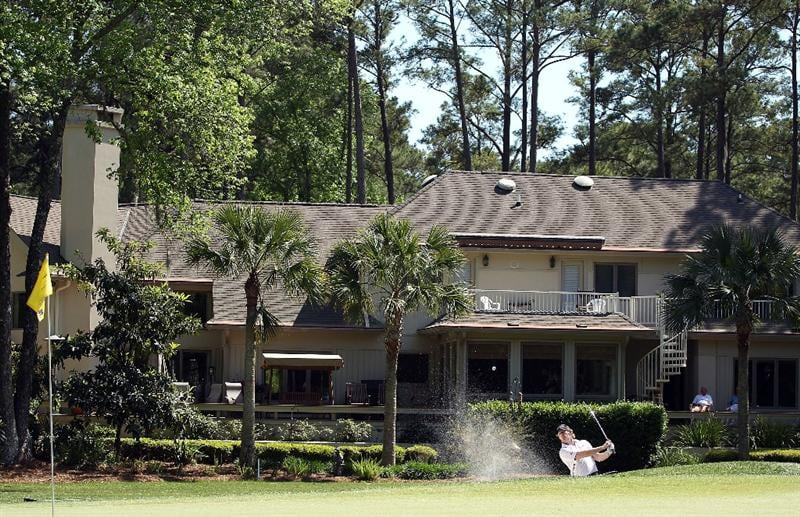 HILTON HEAD ISLAND, SC - APRIL 16:  James Driscoll hits a bunker shot in front of a large home on the 12th hole during the second round of the Verizon Heritage at the Harbour Town Golf Links on April 16, 2010 in Hilton Head lsland, South Carolina.  (Photo by Scott Halleran/Getty Images)