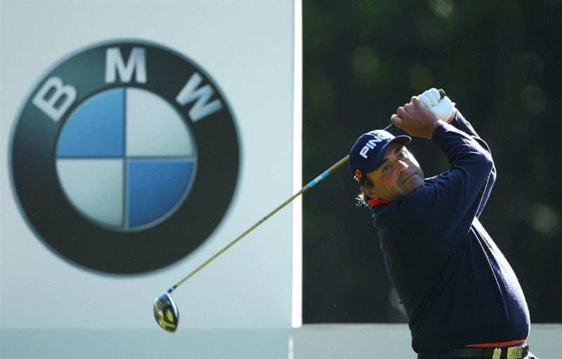 WENTWORTH, ENGLAND - MAY 22:  Angel Cabrera of Argentina tees off on the 3rd hole during the Second Round of the BMW PGA Championship at Wentworth on May 22, 2009 in Virginia Water, England.  (Photo by Andrew Redington/Getty Images)