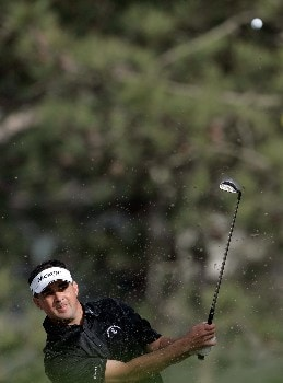 LA JOLLA, CA - JANUARY 24:  Brad Adamonis hits a bunker shot to the 18th green during the first round of the Buick Invitational at the Torrey Pines Golf Course on January 24, 2008 in La Jolla, California.  (Photo by Jeff Gross/Getty Images)