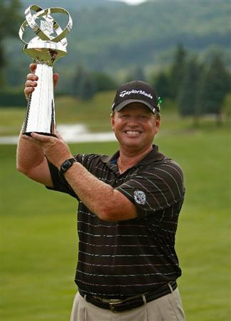 ENDICOTT, NY - JUNE 28:  Lonnie Nielsen holds the trophy after winning The Dick's Sporting Goods Open at En-Joie Golf Club on Sunday, June 28, 2009 in Endicott, New York  (Photo by Mike Ehrmann/Getty Images)