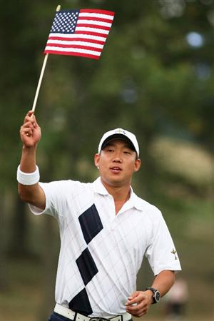 LOUISVILLE, KY - SEPTEMBER 19:  Anthony Kim of the USA team rallies the crowd during the afternoon four-ball matches on day one of the 2008 Ryder Cup at Valhalla Golf Club on September 19, 2008 in Louisville, Kentucky.  (Photo by Ross Kinnaird/Getty Images)