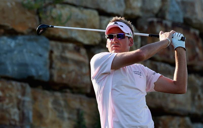 CASARES, SPAIN - MAY 22:  Ian Poulter of England watches his tee-shot on the second hole during the semi final of the Volvo World Match Play Championship at Finca Cortesin on May 22, 2011 in Casares, Spain.  (Photo by Andrew Redington/Getty Images)