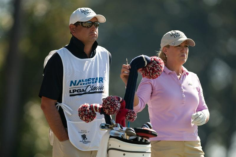 PRATTVILLE, AL - OCTOBER 8: Cristie Kerr (R) and caddie Jason Gilroyed wait on the 17th tee during the second round of the Navistar LPGA Classic at the Senator Course at the Robert Trent Jones Golf Trail on October 8, 2010 in Prattville, Alabama. (Photo by Darren Carroll/Getty Images)