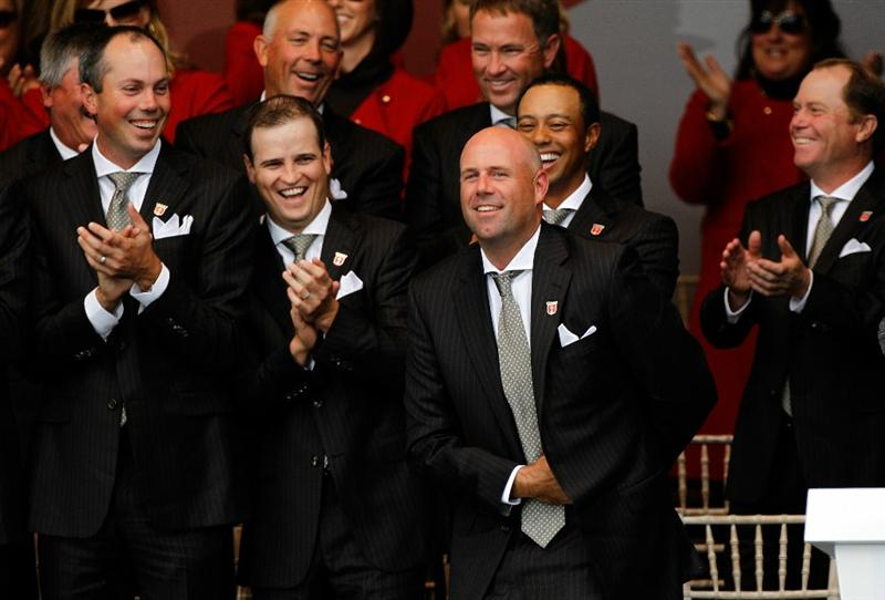 NEWPORT, WALES - SEPTEMBER 30:  Stewart Cink of the USA reacts after Team Captain Corey Pavin forgets to announce him during the Opening Ceremony prior to the 2010 Ryder Cup at the Celtic Manor Resort on September 30, 2010 in Newport, Wales.  (Photo by Sam Greenwood/Getty Images)