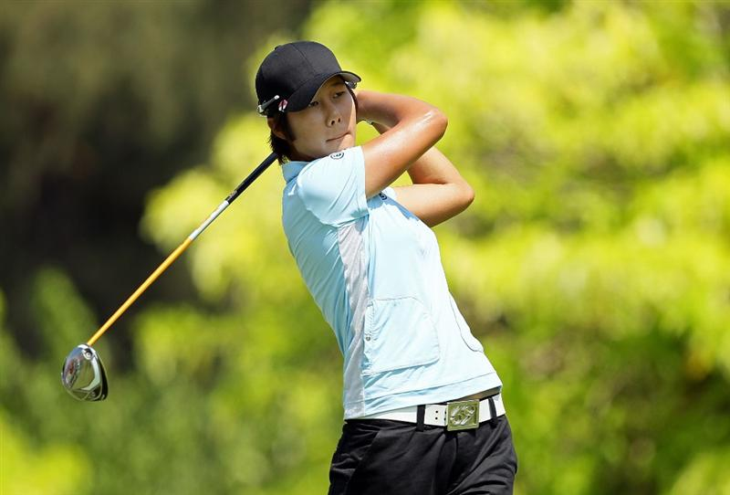 SINGAPORE - FEBRUARY 26: Song-Hee Kim of South Korea hits her tee shot on the 6th hole during the second round of the HSBC Women's Champions at Tanah Merah Country Club on February 26, 2010 in Singapore, Singapore.  (Photo by Andy Lyons/Getty Images)