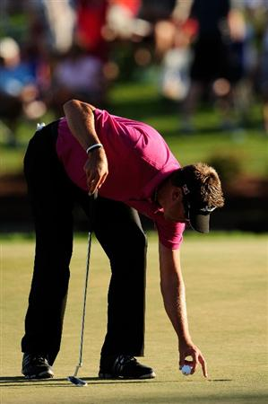 PONTE VEDRA BEACH, FL - MAY 09:  Robert Allenby of Australia reacts to his missed birdie putt on the 17th hole during the final round of THE PLAYERS Championship held at THE PLAYERS Stadium course at TPC Sawgrass on May 9, 2010 in Ponte Vedra Beach, Florida.  (Photo by Sam Greenwood/Getty Images)