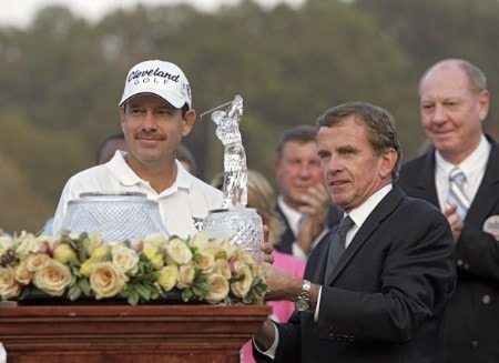 Bart Bryant and PGA TOUR Commissioner Tim Finchem after the final round of THE TOUR Championship at East Lake Golf Club in Atlanta, Georgia on November 6, 2005.Photo by Hunter Martin/WireImage.com