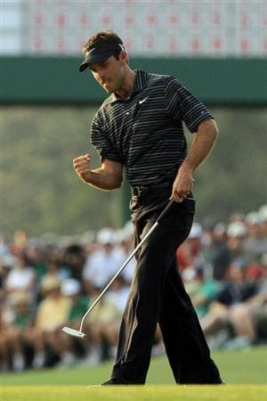 AUGUSTA, GA - APRIL 10:  Charl Schwartzel of South Africa celebrates on the 17th green during the final round of the 2011 Masters Tournament on April 10, 2011 in Augusta, Georgia.  (Photo by David Cannon/Getty Images)