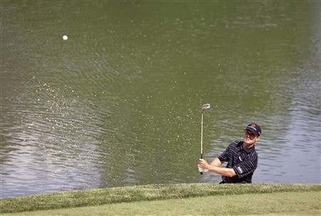 DUBLIN, OH - JUNE 1: Mike Weir of Canada hits his second shot on the 12th hole during the final round of the Memorial Tournament at Muirfield Village Golf Club on June 1, 2008 in Dublin, Ohio. (Photo by Hunter Martin/Getty Images)