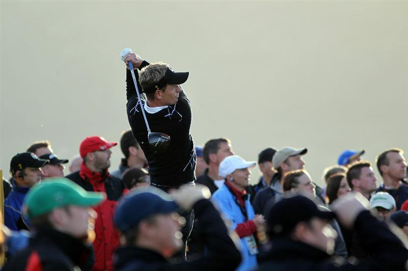 NEWPORT, WALES - OCTOBER 02:  Luke Donald of Europe tees off during the rescheduled Morning Fourball Matches during the 2010 Ryder Cup at the Celtic Manor Resort on October 2, 2010 in Newport, Wales.  (Photo by Jamie Squire/Getty Images)