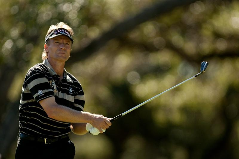 SAN ANTONIO, TX - OCTOBER 29: Bernhard Langer of Germany watches a tee shot during the first round of the AT&T Championship at Oak Hills Country Club on October 29, 2010 in San Antonio, Texas. (Photo by Darren Carroll/Getty Images)