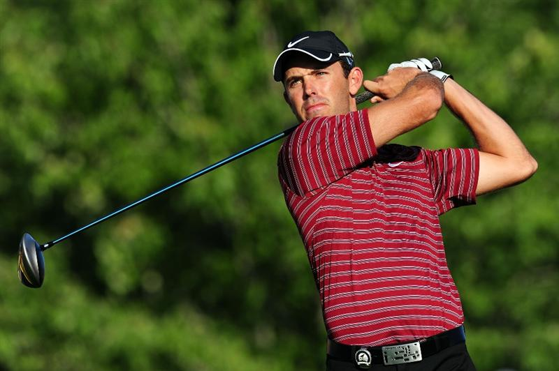 CHASKA, MN - AUGUST 12:  Charl Schwartzel of South Africa hits a shot during the third preview day of the 91st PGA Championship at Hazeltine National Golf Club on August 12, 2009 in Chaska, Minnesota.  (Photo by Stuart Franklin/Getty Images)