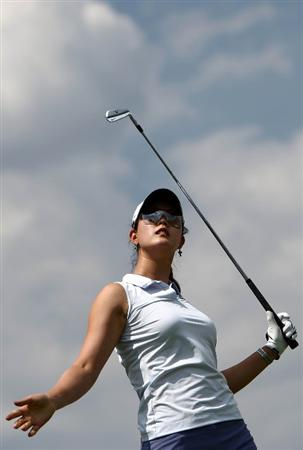 MORELIA, MEXICO- APRIL 23:  Michelle Wie tees off the 3rd hole  during the first round of the 2009 Corona Championship, part of the LPGA Tour, on April 23, 2009 at the Tres Marias Golf Club in Morelia, Michoacan, Mexico. (Photo by Donald Miralle/Getty Images)