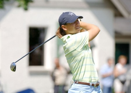 Heather Bowie drives from the 10th tee during the third round of the 2005 Jamie Farr Owens Corning Classic at the Highland Meadows Golf Club in Sylvania, Ohio on July 9, 2005.Photo by Al Messerschmidt/WireImage.com